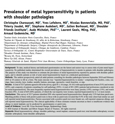 Publication de Christophe CHAROUSSET dans la revue JSES: Prevalence of metal hypersensitivity in patients with shoulder pathologies