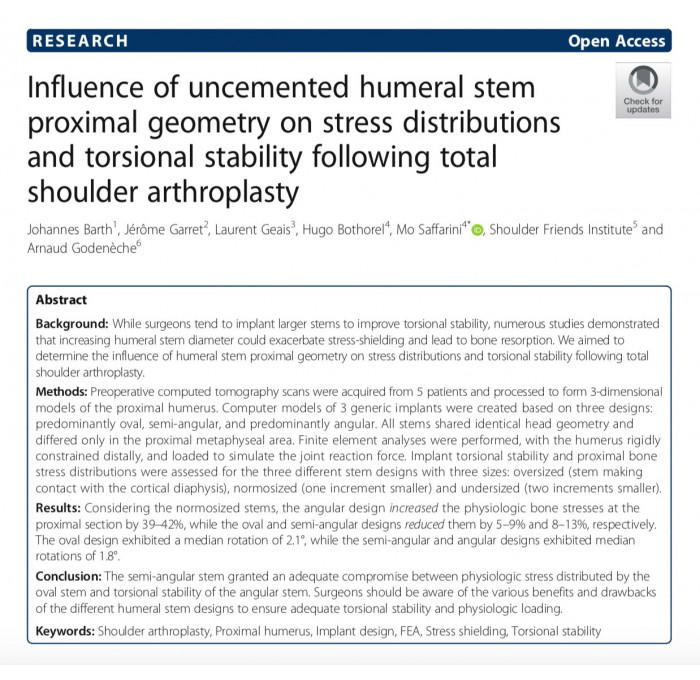 Article de Johannes Barth dans Journal of journal orthopaedics: Influence of uncemented humeral stemproximal geometry on stress distributionsand torsional stability following totalshoulder arthroplasty